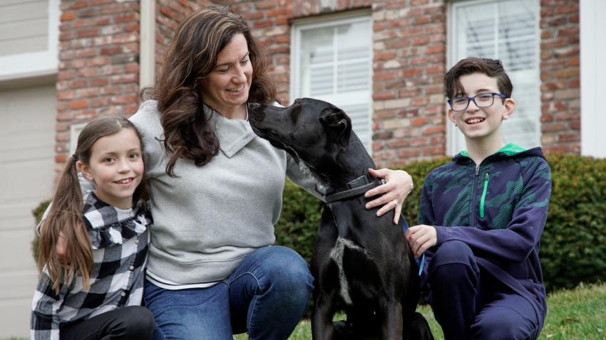 The Simeon family poses with Nala, a dog they are fostering