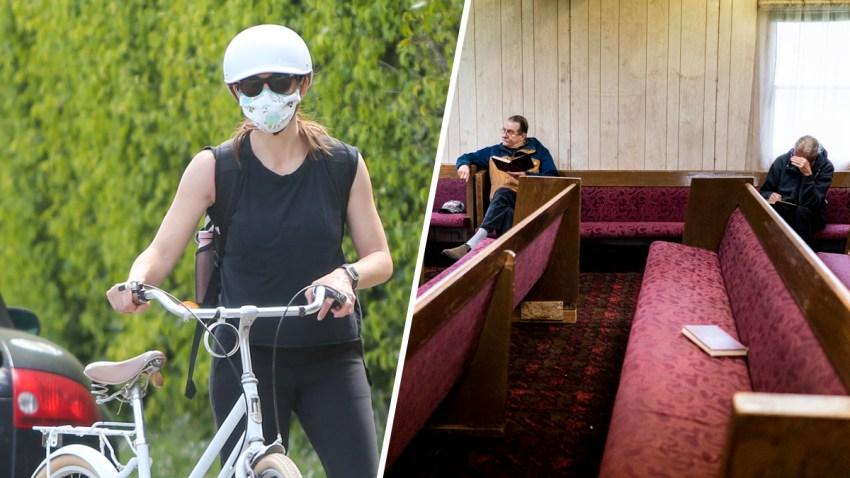 Combinación de fotografías de la actriz Jennifer Garner con una mascarilla y la congregación de una iglesia en Sacramento, California.