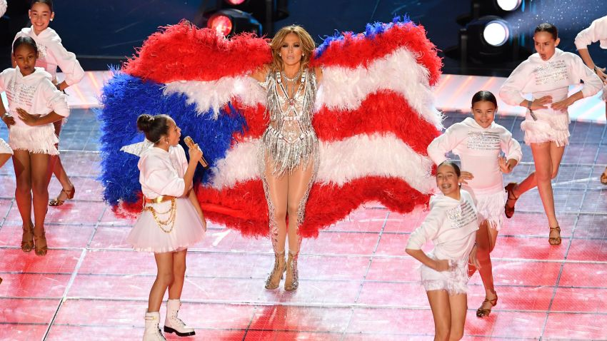 Jennifer Lopez and Emme Maribel Muñiz, left, performs during the halftime show of Super Bowl LIV between the Kansas City Chiefs and the San Francisco 49ers at Hard Rock Stadium in Miami Gardens, Florida, on Feb. 2, 2020.