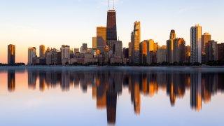 Reflected, Chicago, Skyline, Lake Michigan, Illinois, America