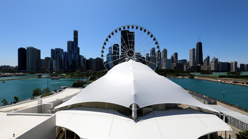West view of Chicago skyline, photographed from atop the parking garage at Navy Pier