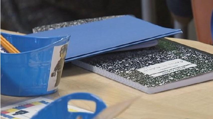 generic school desk books student pencil