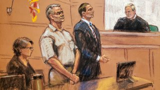 Dibujo de la audiencia de García Luna en la corte de NY