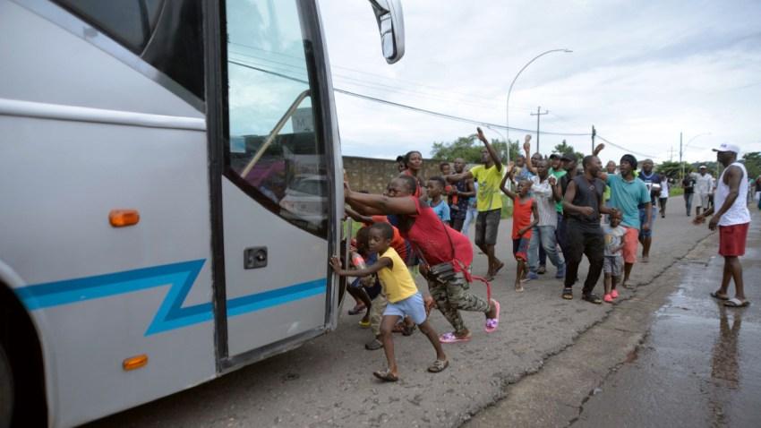 Protesta de migrantes africanos en Chiapas.