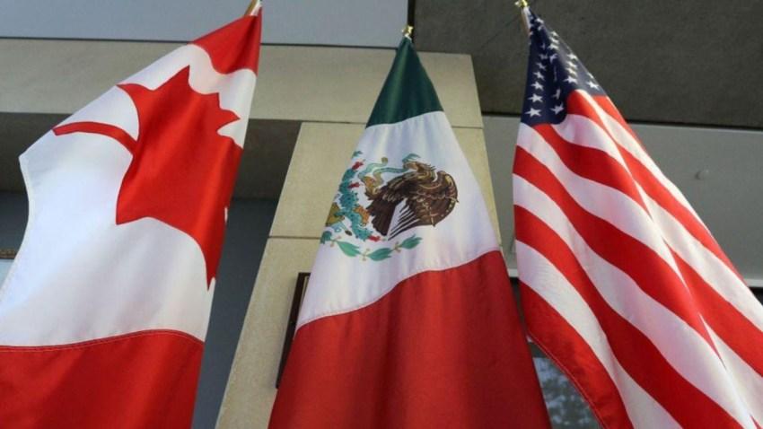 Banderas de Canadá, México y EEUU