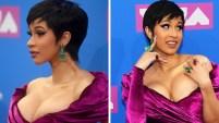 La joven rapera hizo el lunes su primera aparición pública como mamá en los MTV Video Music Awards en Nueva York.