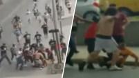 Violencia en antesala de partido de fútbol comenzó supuestamente cuando fanáticos se gritaron insultos.