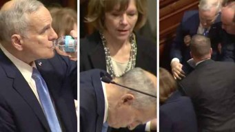 Gobernador de Minnesota se desploma durante discurso