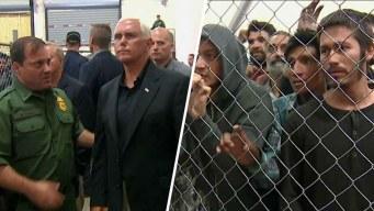 Migrantes enjaulados gritaban durante visita de Pence a la frontera