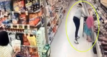 En video: le roban a anciana en pleno supermercado