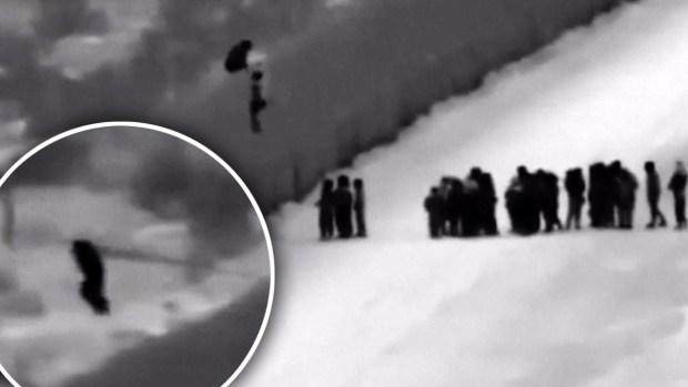 [TLMD - LV] Captado en video: cruzan la frontera con una escalera