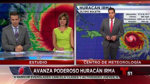 Irma se desplaza a 185 millas por hora