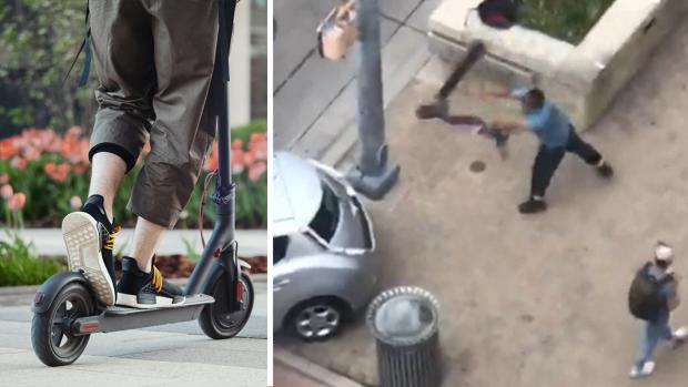 [TLMD - NATL] En video: lo ataca con una patineta eléctrica