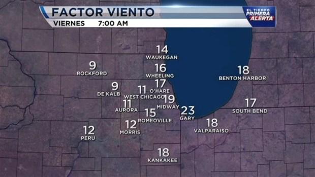 Frío ártico entra a la zona de Chicago este jueves