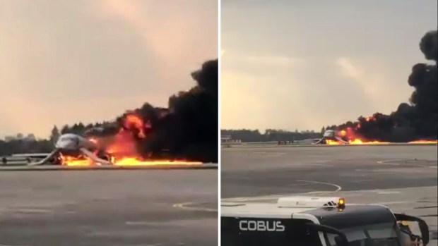 [TLMD - LV] Avión cubierto en llamas aterriza de emergencia en Rusia
