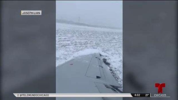Chicago: video capta aterrador aterrizaje de avión en plena nevada