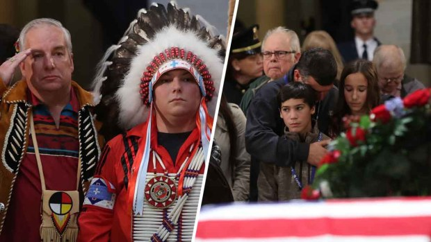 Momentos emotivos frente al féretro de G.H.W. Bush