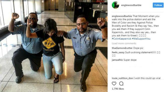 Sancionados policías por arrodillarse en polémica imagen viral