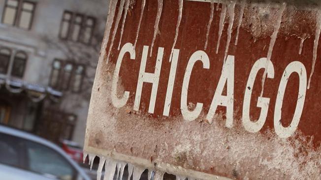 Helado inicio de año en Chicago