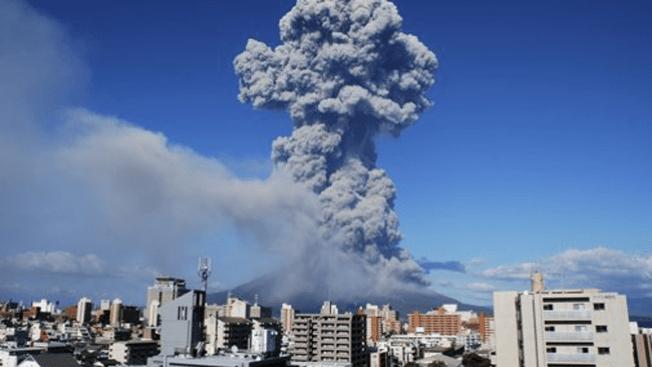 La brava erupción del volcán Sakurajima